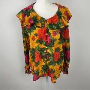 Gitano blouse size S color yellow pinks green.